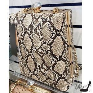 My Bag Lady Online Bags - Snakeskin Embossed Jewel-Top Box Bag
